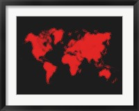 Framed Dotted Red World Map