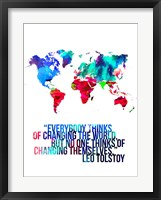 Framed World Map Quote Leo Tolstoy