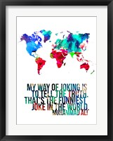 Framed World Map Quote Muhammad Ali