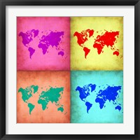 Framed Pop Art World Map 1