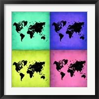 Framed Pop Art World Map 2