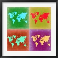 Framed Pop Art World Map 3