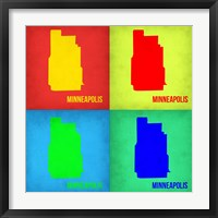 Framed Minneapolis Pop Art Map 1