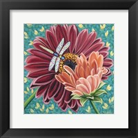 Framed Dragonfly on Blooms II