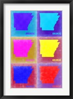 Framed Arkansas Pop Art Map 2