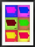 Framed Iowa Pop Art Map 2