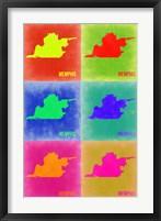 Framed Memphis Pop Art Map 3