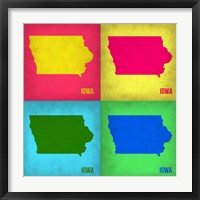 Framed Iowa Pop Art Map 1