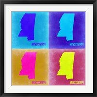 Framed Mississippi Pop Art Map 2