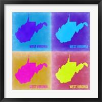 Framed West Virginia Pop Art Map 2