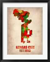 Framed Kansas City Watercolor Map