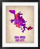 Framed San Jose Watercolor Map