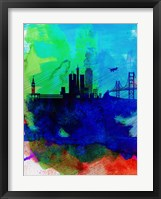 Framed San Francisco Watercolor Skyline 2