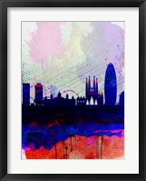 Framed Barcelona Watercolor Skyline 2