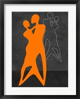 Framed Orange Couple Dancing