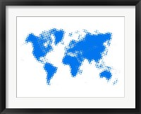 Framed Blue Dotted World Map