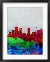 Framed Denver Watercolor Skyline
