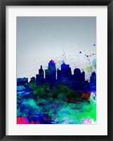 Framed Kansas City Watercolor Skyline