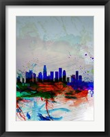 Framed Los Angeles  Watercolor Skyline 1