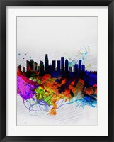 Framed Los Angeles  Watercolor Skyline 2