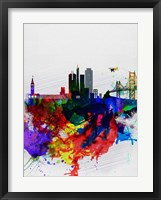 Framed San Francisco Watercolor Skyline 1