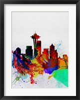 Framed Seattle Watercolor Skyline 2