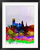 Framed Providence Watercolor Skyline