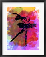 Framed Black Ballerina Watercolor