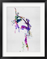 Framed Two Ballerinas Dance Watercolor