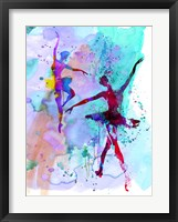 Framed Two Dancing Ballerinas Watercolor 2