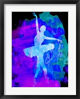 Framed White Ballerina Watercolor 1