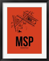 Framed MSP Minneapolis Airport Orange
