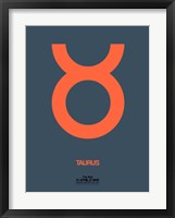 Framed Taurus Zodiac Sign Orange