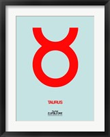 Framed Taurus Zodiac Sign Red