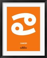 Framed Cancer Zodiac Sign White on Orange