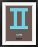 Framed Gemini Zodiac Sign Blue