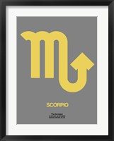 Framed Scorpio Zodiac Sign Yellow on Grey