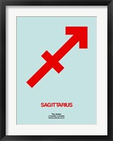 Framed Sagittarius Zodiac Sign Red
