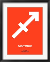 Framed Sagittarius Zodiac Sign White on Orange