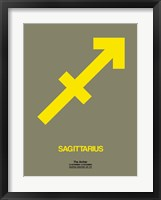 Framed Sagittarius Zodiac Sign Yellow