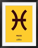 Framed Pisces Zodiac Sign Brown