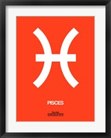 Framed Pisces Zodiac Sign White on Orange
