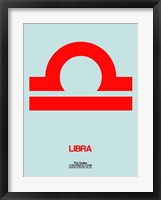 Framed Libra Zodiac Sign Red