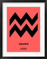 Framed Aquarius Zodiac Sign Black