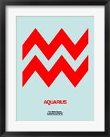 Framed Aquarius Zodiac Sign Red