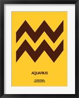 Framed Aquarius Zodiac Sign Brown
