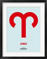 Framed Aries Zodiac Sign Red