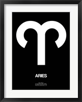 Framed Aries Zodiac Sign White