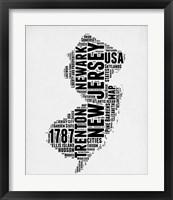 Framed New Jersey Word Cloud 2