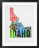 Framed Idaho Watercolor Word Cloud